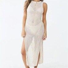 Women Sexy Bikini Cover Ups Casual Sleeveless See Thru Crochet Stretch Swimwear Summer Beachwear