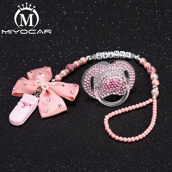 MIYOCAR Any Name Princess Bling Rhinestone Pacifier Clip Dummy Clip Bling Crown Pacifier/ Nipples /Dummy Pacifier Clip Set