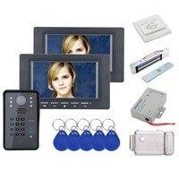 Güvenlik ve Koruma'ten Video Interkom'de Ev Güvenlik 7 inç 2 Monitör RFID Şifre Görüntülü Kapı Telefonu interkom kapı zili IR Kamera Ile Erişim Kontrol Sistemi + Kilitleri