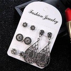 4Pairs/5Pairs Bohemian Dazzling Crystal Stud Earrings Jewelry Women Boucle Cubic Opal Earring Brincos