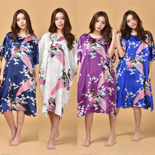 22 Colors New Peacock Chinese Women Silk Rayon Robe Dress Summer Loose  Lounge Nightgown Sleepwear Kaftan Bath Gown One Size 1c212df1b