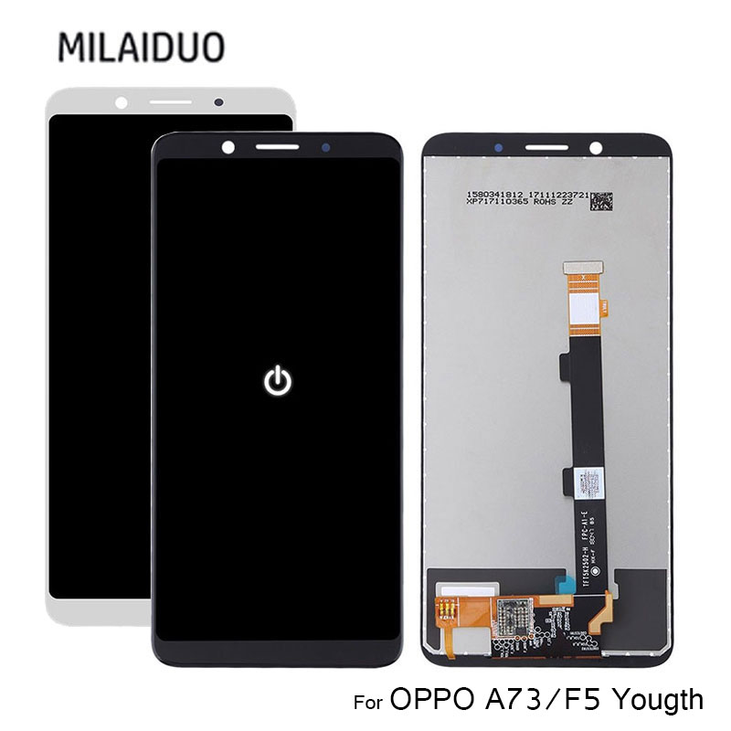 TFT <font><b>LCD</b></font> Display For <font><b>Oppo</b></font> A73 F5 Yougth Touch Screen Digitizer <font><b>LCD</b></font> For <font><b>Oppo</b></font> <font><b>A5</b></font> Assembly Replacement Black No Frame 100% Tested image