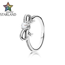 Starland Fine Detail 925 Sterling Silver Bowknot Finger Rings with White Pearl & Clear CZ Original Women Engagement Ring Gifts