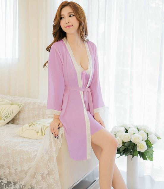 8b221b27d1 Lisacmvpnel Chiffon Sexy 2 Pcs Robe+Nightgown Women Pajamas Women Robe Set  Bathrobe Plus Size Women Cardigans-in Robe   Gown Sets from Women s  Clothing   ...