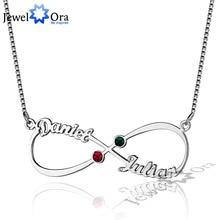 Bijoux bricolage cadeau de noël infini amour pierre de naissance pendentif personnalisé 925 en argent Sterling nom collier avec boîte chaîne