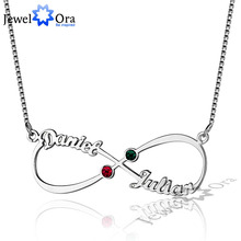 JewelOra DIY Christmas Gift Infinity Love Birthstone Pendant Personalized 925 Sterling Silver Name Necklace With Box Chain