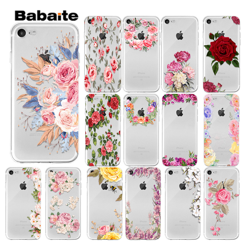 Babaite Rose flower rose wreath Custom Photo Soft Phone Case for iPhone 7 7plus 5 5Sx 6 8 8Plus X XS MAX XR in Half wrapped Cases from Cellphones Telecommunications