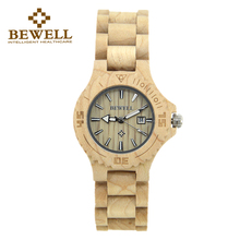 BEWELL Luxury Brand Wood Women Watches Fashion Calendar Display Ladies Montre Femme Relogio with Box 020A