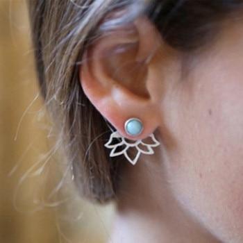 Crystal Flower Double Sided Gold Silver drop earrings For Women fashion Jewelry  3