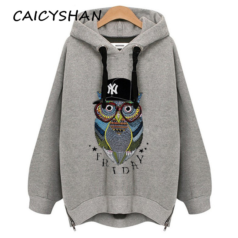 New Autumn Winter Women Hoodies Plus saiz Owl longgar Render lengan panjang Side Zipper Hooded Hooded Untuk Wanita Hoodies Besar