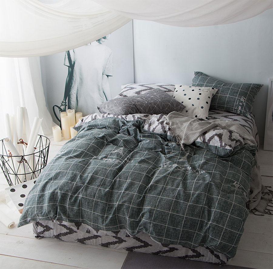 Boy plaid bedding - Modern Bedding Set Adult Teen Kid Boy Cotton Full Queen King Geometric Plaid Home Textiles Bed Sheet Pillowcases Duvet Cover