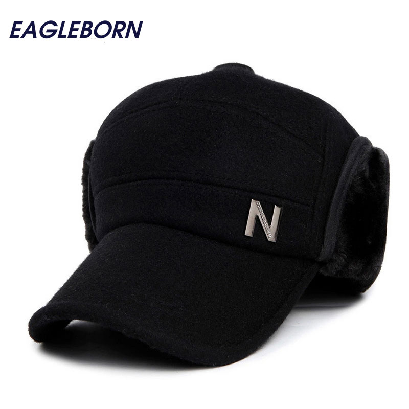 2019 Letter N logo winter hats Men   Baseball     cap   with earflaps women cotton Thicken snapback casquette for man 53-56cm head size