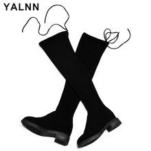 YALNN 2019 Women Shoes Winter Boots Over Knee All Match Sexy Womens Black Thigh High Plus Size 34-43