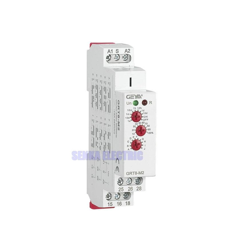 3 Knobs Multi Function Din Rail Auto Timer Relays AC DC 12V 24V 220V DPDT Control