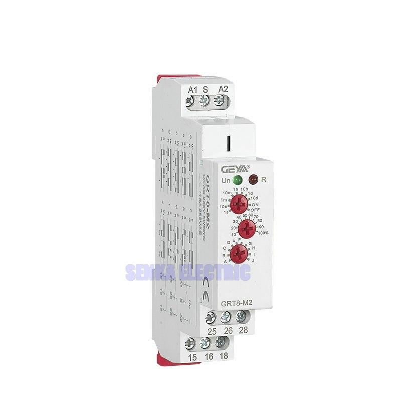 3 perillas multifunción carril DIN temporizador automático relés AC 24 V DC 12 V 220 V DPDT control interruptor relé de retardo de tiempo
