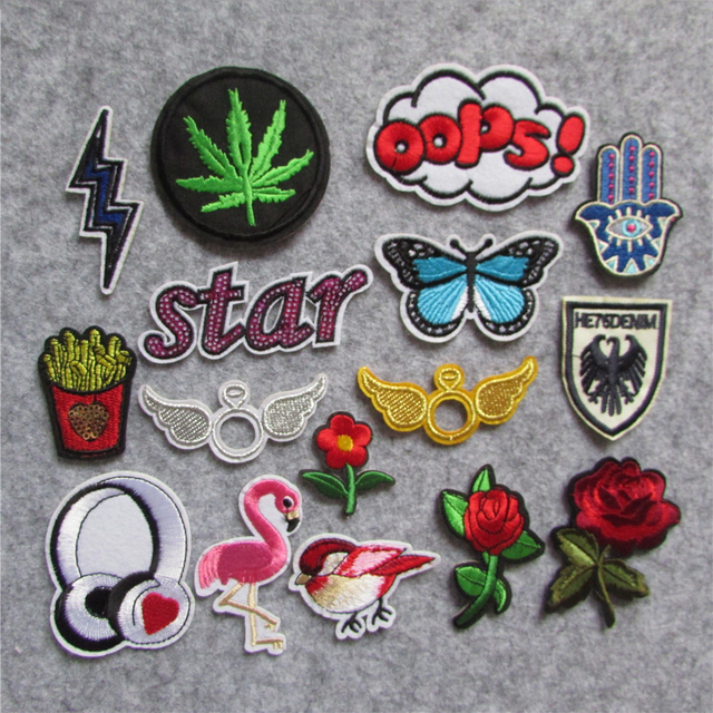 Diy Handmade Embroidered Patch: DIY Bird Flower Patch Kids Iron On Cartoon Patches For