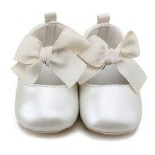 Повседневная обувь принцессы для маленьких девочек; мягкая обувь из искусственной кожи на плоской подошве с бантом; обувь для малышей; Белая обувь