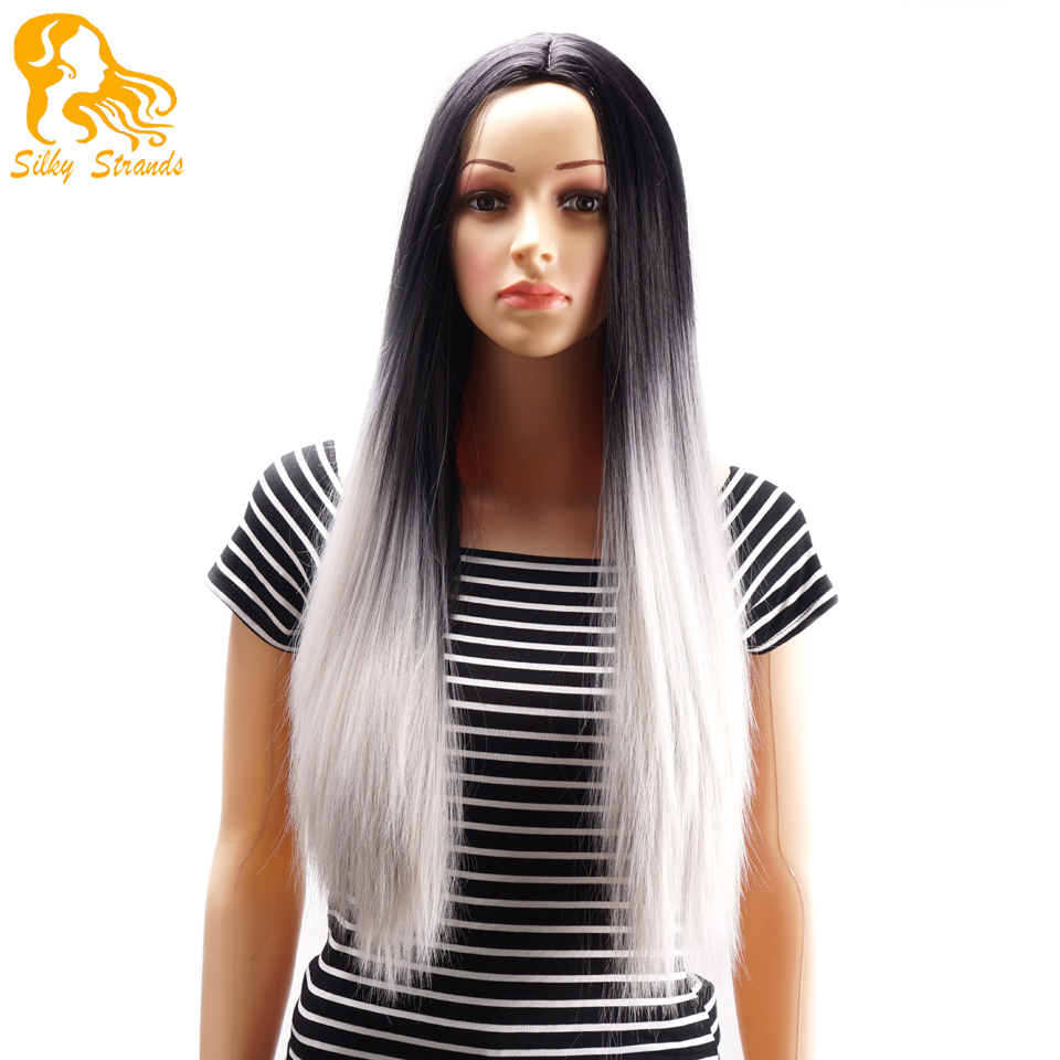 2015 hot sale ombre two tone synthetic grey hair wigs cheap good quality long straight full head heat resistant wig no bangs