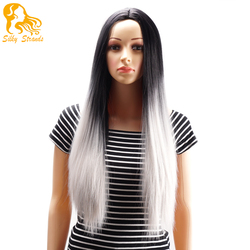 Ombre two tone synthetic grey hair wigs natural cheap long straight heat resistant silver wigs for.jpg 250x250