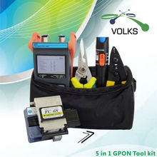 5 In 1 Fiber Optic GPON Tool Kit with FC-6S Fiber Cleaver BIN and Optical Power Meter 10Mw Visual Fault Locator