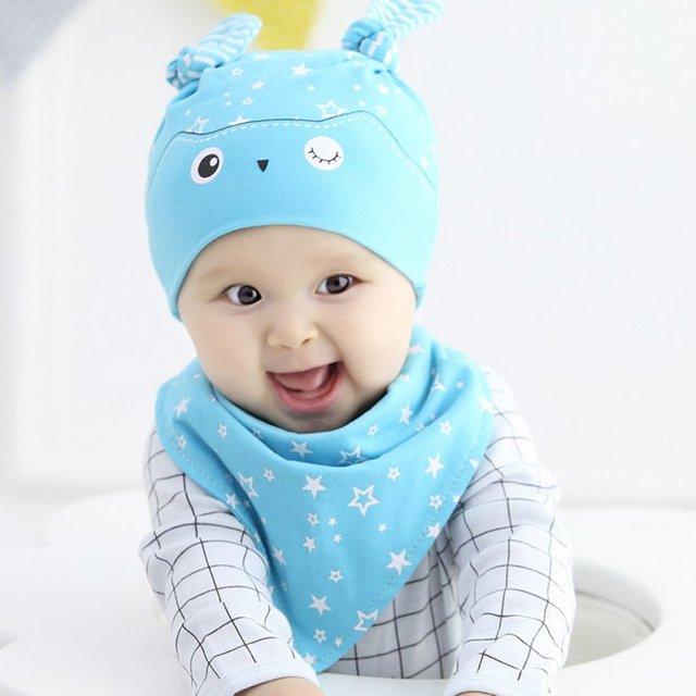 65fbca1f439 2018 Toddler Child Baby Boys Girls Sleep Hat Cap+Saliva Towel Triangle Head  Scarf Set