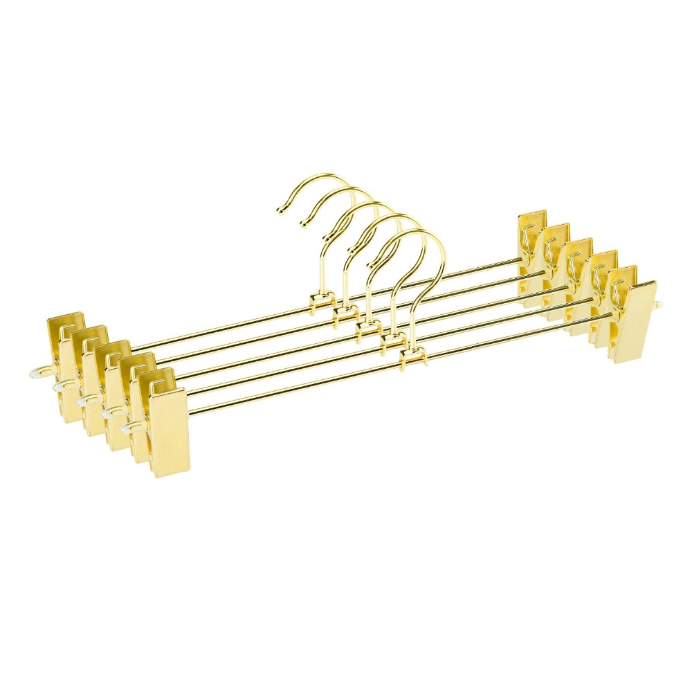 Hangerlink Gold Metal Heavy Duty Pants Skirt Slack Hangers Trousers Hanger with Clips Hanger Rack Swivel