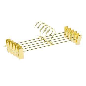 Hangerlink Gold Metal Heavy Duty Pants Skirt Slack Hangers, Trousers Hanger with Clips Hanger Rack Swivel Hook (12pcs/Lot) - Category 🛒 All Category