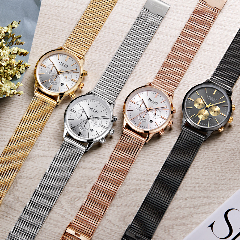 MEGIR Chronograph Luxury Women Bracelet Watches Relogio Feminino Fashion Quartz Lovers Wrist Watch Clock Ladies Girls Gift 2011 megir ladies watches rose gold luxury women bracelet watch for lovers fashion girl quartz wristwatch clock relogio feminino 1079