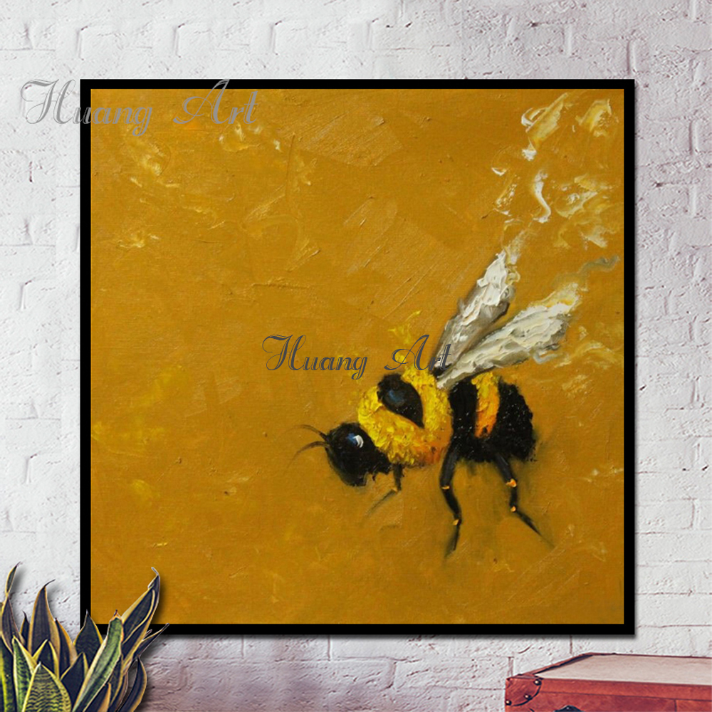 Hand Painted Oil Painting Yellow Bee Honey Animal