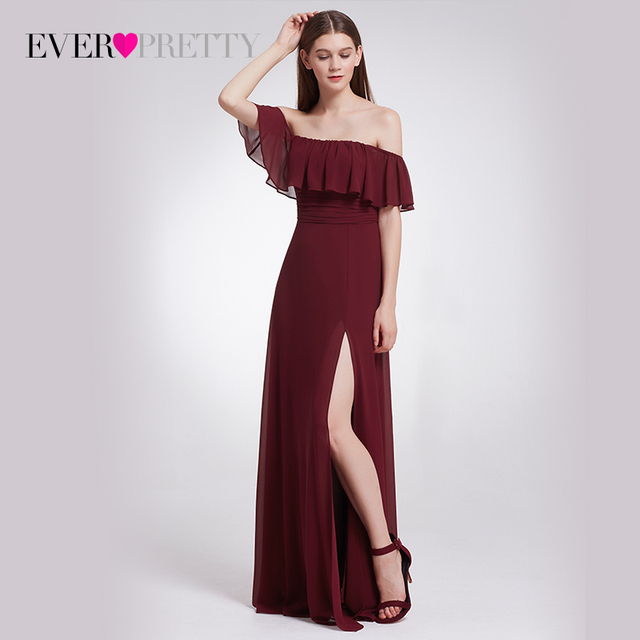 9566ddfa4a1 Chiffon Bridesmaid Dresses Ever Pretty EP07171 Charming Off Shoulder  Ruffles High Split Floor-Length Long