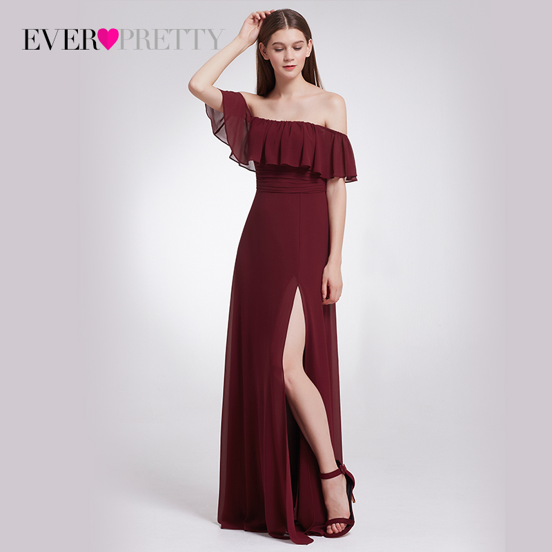 Chiffon   Bridesmaid     Dresses   Ever Pretty EP07171 Charming Off Shoulder Ruffles High Split Floor-Length Long Wedding Party Gowns