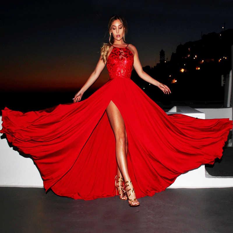 Женское длинное летнее платье 2019 Vestidos, Пляжное Платье с разрезом до бедра, сексуальное платье на выпускной, свадьбу, вечеринку, одежда, сарафан с открытой спиной в стиле бохо
