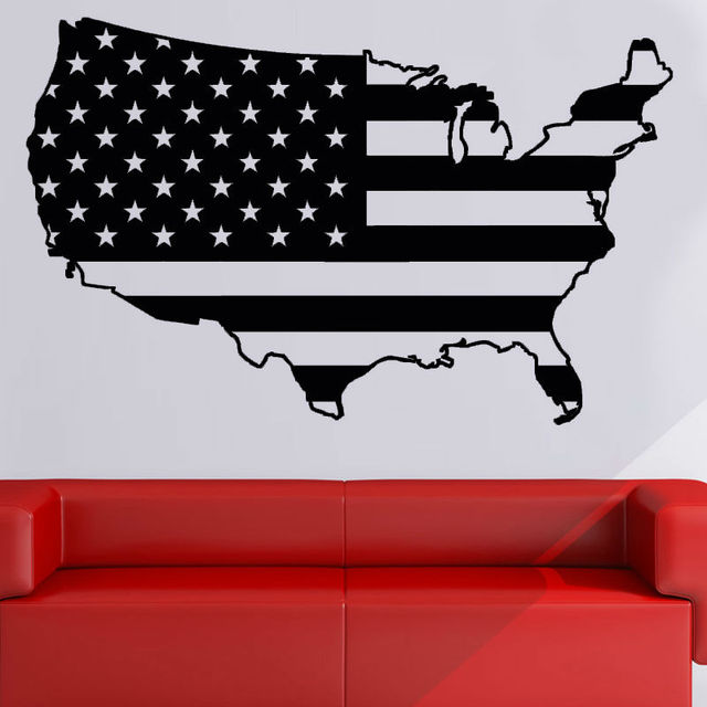 modern design usa flag wall sticker map living room sofa background home decor vinyl personalized colors