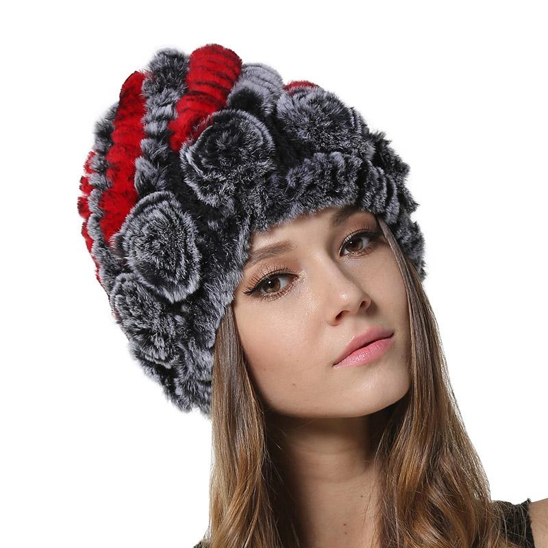 Compre Mujeres Invierno Cálido Gorros De Piel Reales Niñas De Punto ... 7eedc3a56f5