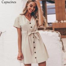 78dcf698280ec Casual Cotton Linen Button Summer Dress Women 2019 Vintage V neck Short  Sleeve Bow Belt Short Shirt Dresses Female Vestidos
