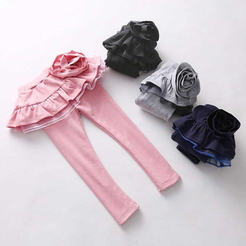 2016 Winter Clothes Korean New Pattern FLOWER  Garment Children Thickening Increase Down Rendering Pants Culotte Kz-3075