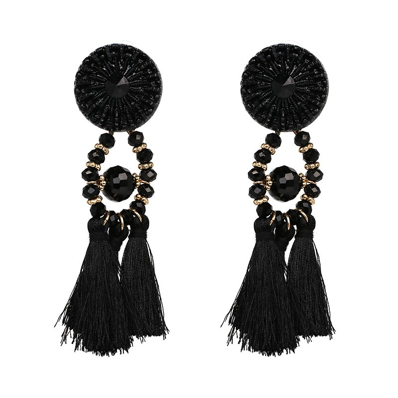 JUJIA 2020 Wanita Etnis Vintage Panjang Menjuntai Fringe Earrings - Perhiasan fashion - Foto 2