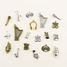 Fashion Jewelry Making Musical Instrument Horn Microphone Jewelry Findings Components Mix Pendant(China)