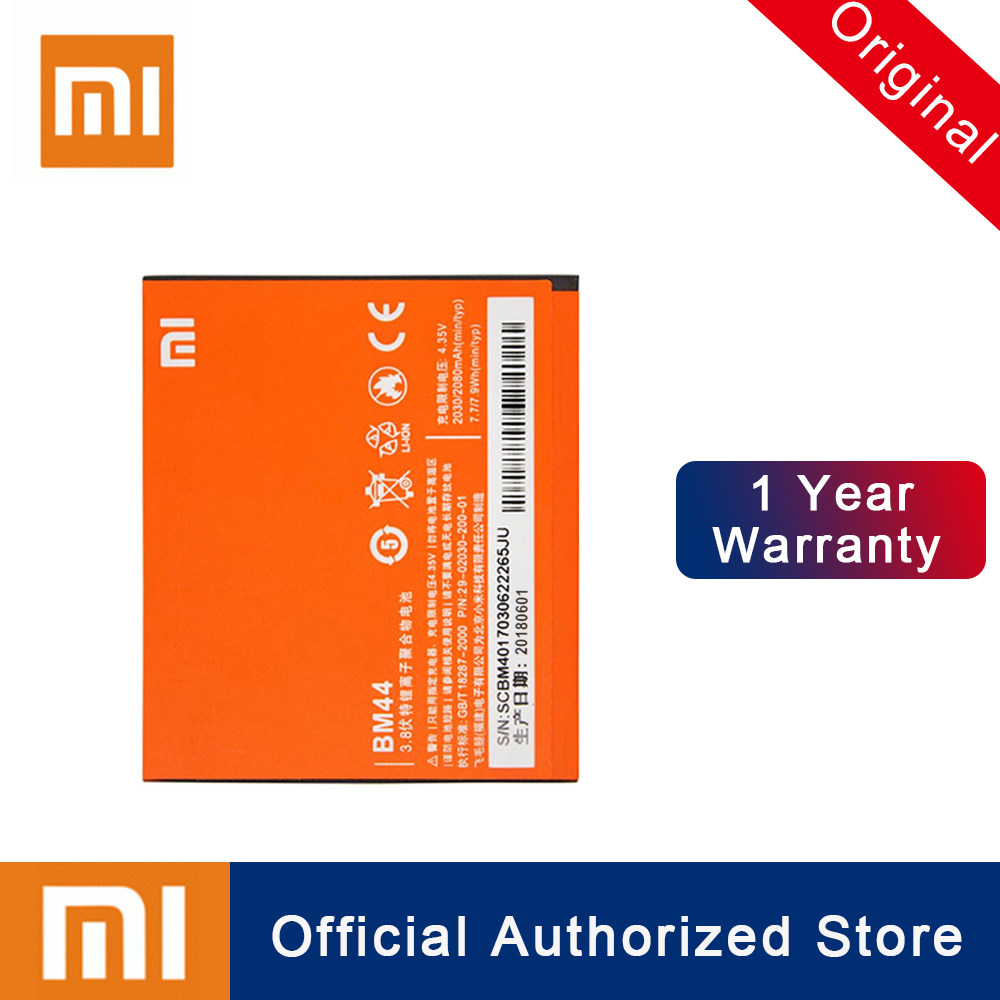 Xiao Mi <font><b>Original</b></font> Replacement <font><b>Battery</b></font> BM44 For <font><b>Xiaomi</b></font> 2A <font><b>Redmi</b></font> <font><b>1S</b></font> <font><b>Redmi</b></font> 2 2080mAh High Capacity Rechargeable Phone Batteria Akku image