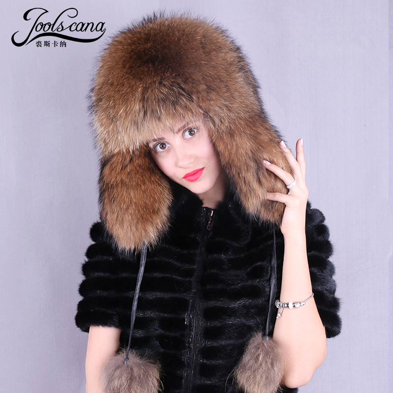 Joolscana real fur hat bomber hats for women men unisex fashion winter cap bigger rich fur new brand warm men baseball cap winter warm earflap dad hat siggi wool faux fur russian casquette gorras fitted bomber earmuff protection 67134