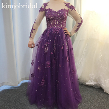 purple prom dresses 2019 long sleeve tulle crystal pearls a line lace evening gowns real picture arabic