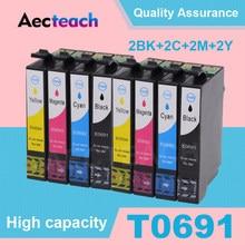 Cartouches d'encre complètes pour imprimante Epson, compatibles 69 T0691, CX5000, CX6000, CX7000F, CX7450, CX8400, CX9400, 2 jeux