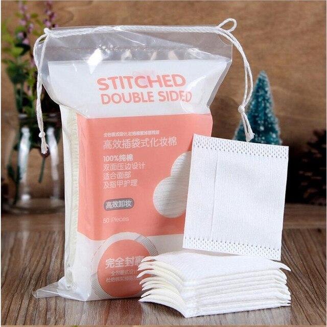 50pcs Organic Cotton Pads Facial Cut Cleansing Makeup Puff