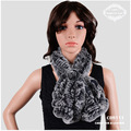 CDS 111 Fashion Leaf Shaped Rex Rabbit Fur Scarf Women for Winter with Decorated Flower