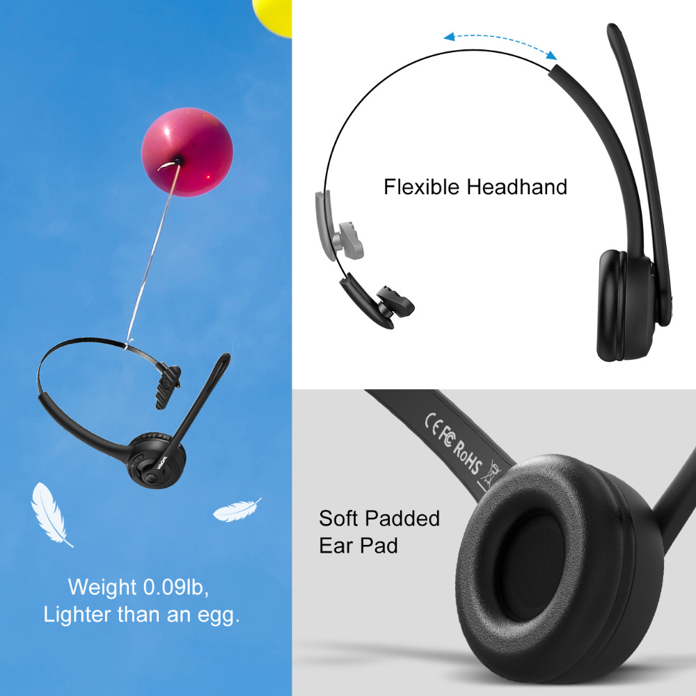 cheapest Mpow Pro Headphone Updated MBH15 Over Head Wireless Bluetooth Headset With Mic For Trucker Driver Call Center Office Cell Phone