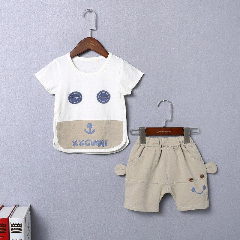 Одежда для маленьких мальчиков для малышей комплекты одежды для мальчиков с рисунками для детей улыбка футболка + Шорты комплекты одежды для маленьких мальчиков летние комплекты
