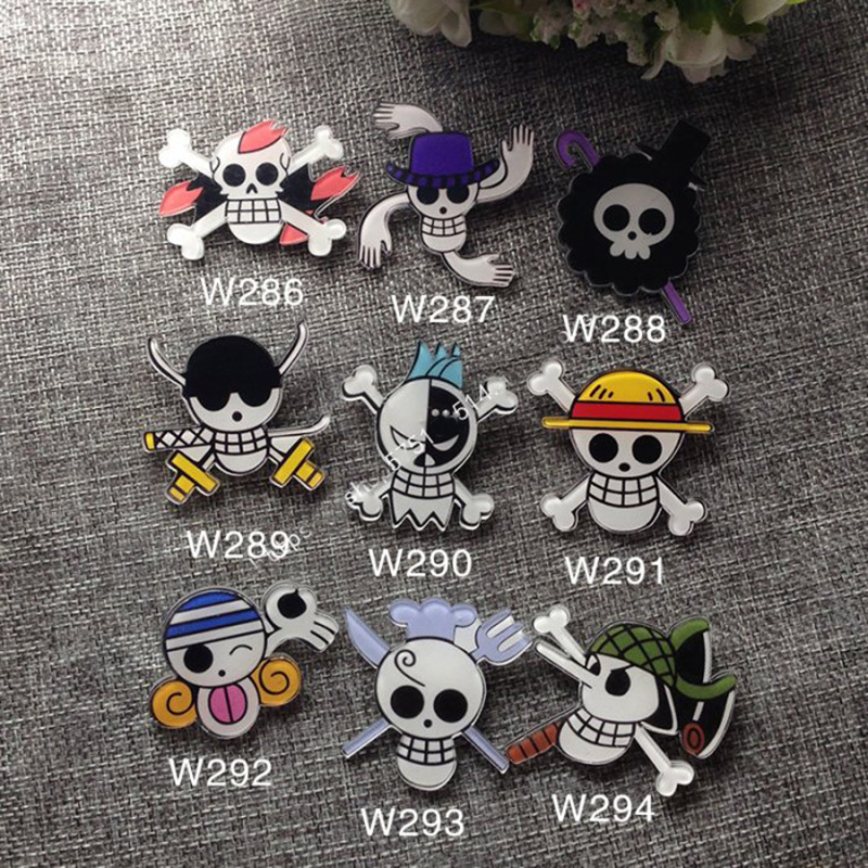 9pcs/set Anime Cartoon One Piece Luffy Skeleton Flags Badge Brooch Acrylic Badge Pins page flags green 50 flags dispenser 2 dispensers pack page 1