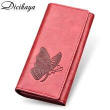 DICIHAYA из натуральной кожи Для женщин удлиненный кошелек тисненый узор с бабочками кошельки женский держателей карт Carteira Feminina телефона