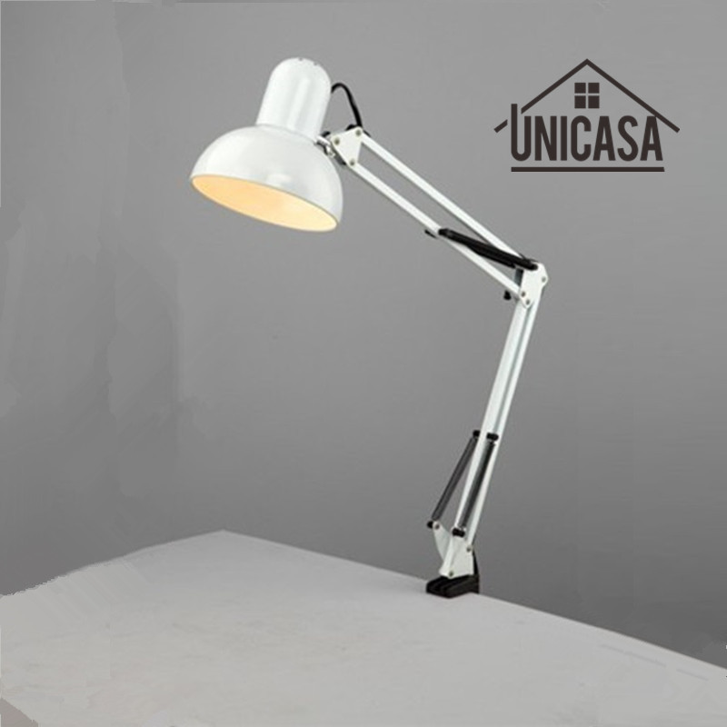 Adjustable Clip Table Lights Bedside Desktop Table Lamp Bedroom White Desk Lamps Office Light Libraly Porch Industrial Lighting