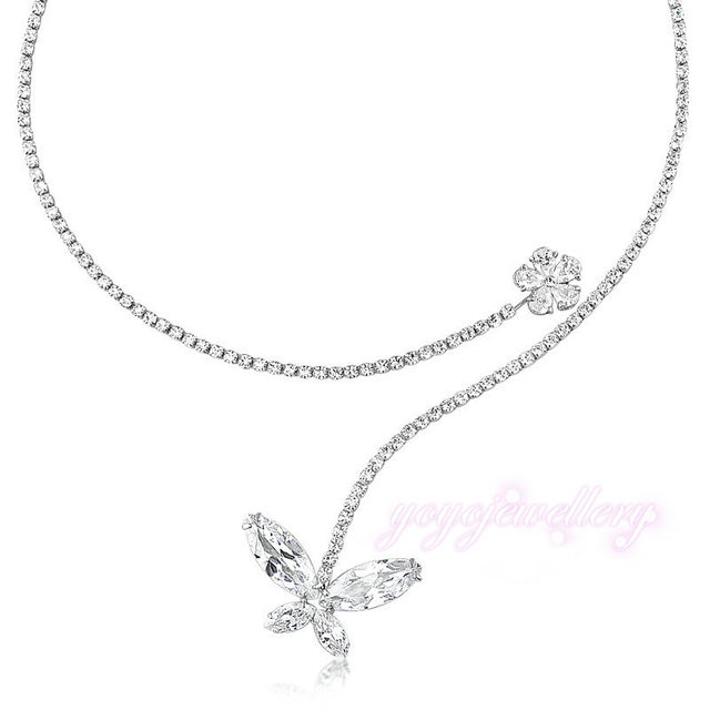 Open Adjustable Torque Tennis Necklace Crystal Flower Fashion Trend Women Jewelry N347
